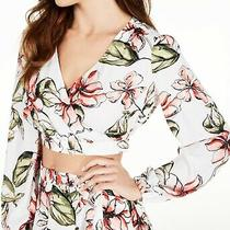 Guess Womens Crop Top Size Small S Floral Print Smock Shoulder Surplice 69 226 Photo