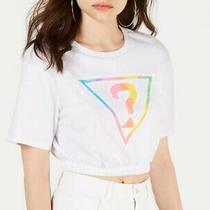 Guess Womens Crop Top White Size Large L Rainbow Logo Elastic Waistband 39 397 Photo