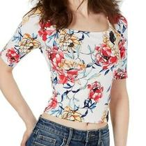 Guess Womens Crop Top White Size Medium M Half-Sleeve Floral-Print 39- 633 Photo