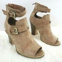 Guess Womens Cutout Peep Toe Faux Leather Ankle Booties Size 6.5 Brown Shoes Euc Photo