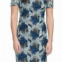Guess Womens Dress Blue Black Size 10 Sheath Floral Lace Cold Shoulder 128 156 Photo