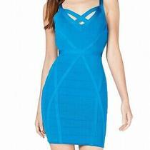 Guess Womens Dress Blue Size Xs Teasha Bandage Crossed Bodycon Mini 128- 380 Photo