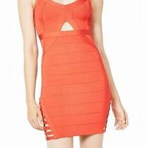Guess Womens Dress Classic Bright Orange Size Large L Bandage Cutout 148- 381 Photo