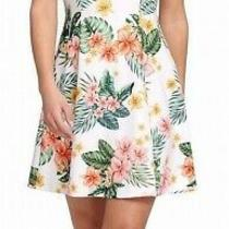 Guess Womens Dress Green Size 14 a-Line Tropical Print Hardware 118 015 Photo