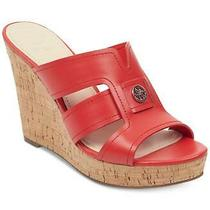 Guess Womens Eadra Leather Open Toe Casual Platform Sandals Red Size 8.5 Fiwu Photo