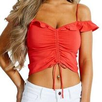 Guess Womens Eara Crop Top Red Size Xs Ruffle Trim Ruched Cold Shoulder 44 576 Photo