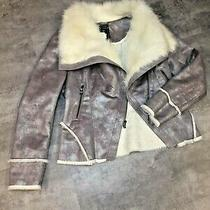 Guess Womens Faux Suede Jacket Coat Medium Grey Metal White Faux Fur Lined  Photo