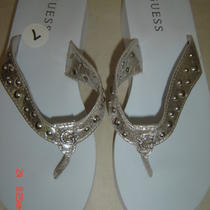 Guess Womens Flip Flops Thongs Sandals Size 7 G Logo in Rhinestones New With Tag Photo