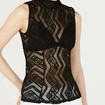 Guess Womens Gamilla Top Black Size Medium M Lace Mock-Neck Sleeveless 59 357 Photo