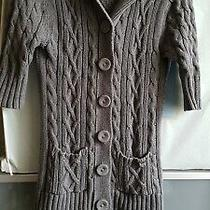 Guess Womens Grey Button Up Short Sleeve Cable Stitch Knitted Hoodie Cardigan Photo