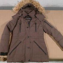 Guess Womens Heavy Winter Parka Jacket Coat Green W/faux Fur Trim Sz Xs Photo