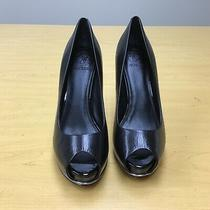 Guess Womens Honora2-Ff30-Blke8 Peep Toe Classic Pumps Black Leather Size 8 Photo