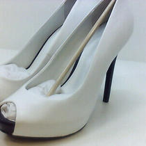 Guess Womens Honora9 Peep Toe Classic Pumps White/black Size 10.0 Zz0c Photo
