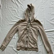 Guess Womens Jacket Beige Hooded Long Sleeve  Hoodie Zip Up Sz Small Photo