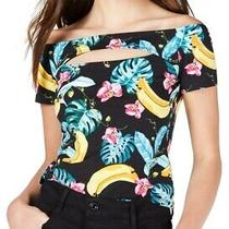Guess Womens Jayla Crop Top Black Size M Peek-a-Boo Floral Banana Print 39 602 Photo