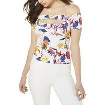 Guess Womens Jayla White Floral Cut-Out Off-the-Shoulder Top Shirt S Bhfo 7369 Photo