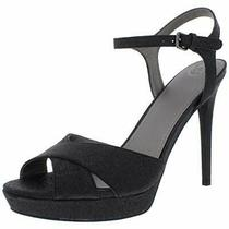 Guess Womens Jordie Peep Toe Special Occasion Ankle Black Texture Size 9.5 Gki Photo