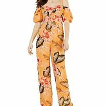 Guess Womens Jumpsuit Yellow Size 2 Tropical Print Cold Shoulder 108 079 Photo