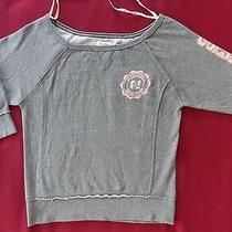 Guess Womens/junior Grey Sweatshirt Pink/silver Logo 3/4 Sleeves Size Junior M Photo