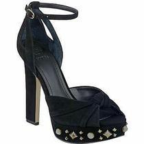 Guess Womens Kenzie2 Open Toe Ankle Strap Classic Pumps Black Suede Size 8.0 Q Photo
