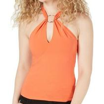 Guess Womens Knit Top Sunkissed Coral Orange Size Medium M Tawni Halter 49 045 Photo