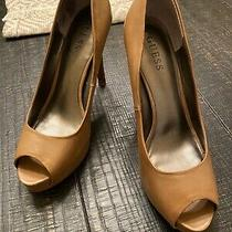 Guess Womens Leather Tan Peep Toe High Heel  Pumps Shoes Size 8.5m Photo