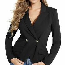 Guess Womens Lina Blazer Black Size Large L Double-Breasted Peak-Lapel 128 053 Photo
