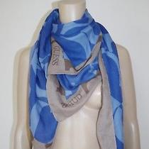 Guess Womens Logo Shawl Wrap Scarf Large Fall Autumn Spring New Blue Nude Solid Photo