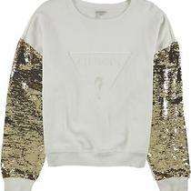 Guess Womens Metallic Sleeve Sweatshirt White X-Large Photo