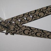Guess Womens Monogram Belt Black Monogram Rhinestone Accent Large Nwt Photo