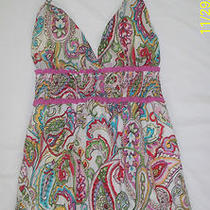 Guess Womens Multi Colored Paisley Print Smocked Lined Halter Dress Size 5 Euc Photo