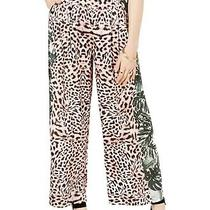 Guess Womens Pants Brown Size 28 Leopard High Rise Wide Leg Palm Terry 98 166 Photo