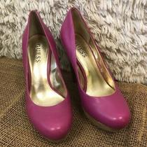 Guess Womens Platform Stacked Heels Pumps Shoes Pink Faux Leather Slip on 6 M Photo