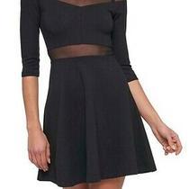 Guess Womens Ponte Dress Black Size 8 Mesh-Yoke Illusion Fit & Flare 118 947 Photo