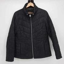 Guess Womens Puffer Jacket Black Zip Up Lined Quilted Mock Neck Winter Coat L Photo