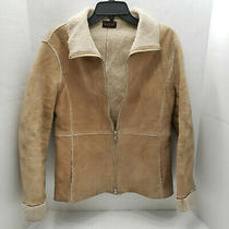 Guess Womens Raw Suede Leather Tan Beige Jacket W/ Fleece Inside Zipper Pocket M Photo