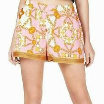 Guess Womens Shakira Gilded Shorts Pink Gold Size Xs Chain-Print Pull-on 69 675 Photo