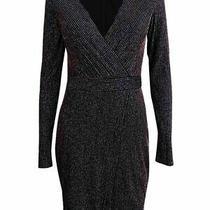 Guess Womens Sheath Dress Black Combo Size 2 Shimmer Ribbed Surplice 168 179 Photo