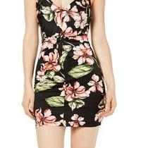 Guess Womens Sheath Dress Black Size Xs Floral Ruched v-Neck Stretch 89 656 Photo