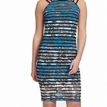 Guess Womens Sheath Dress Blue Multi Size 2 Floral Illusion-Stripe 118 194 Photo