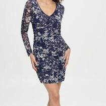 Guess Womens Sheath Dress Blue Size 14 Ruched Floral-Print Mesh 118- 251 Photo