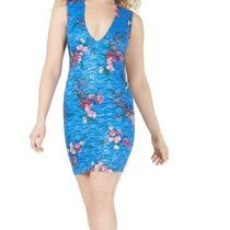Guess Womens Sheath Dress Blue Size 8 Plunging Floral Lace Open-Back 128 086 Photo