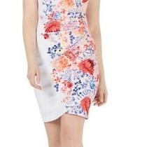 Guess Womens Sheath Dress White Size 2 Halter Floral Print Keyhole 108 226 Photo