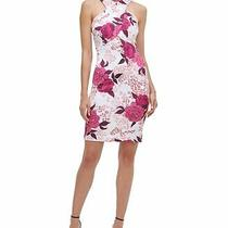 Guess Womens Sheath Dress White Size 4 Scuba Floral-Animal Print 108- 439 Photo