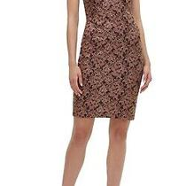 Guess Womens Sheath Dress Wine Red Size 14 v-Neck Metallic Floral Lace 128 136 Photo