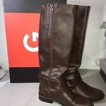 Guess Womens Shoes Size 5 Brown Faux Leather Casual Boots Used Photo