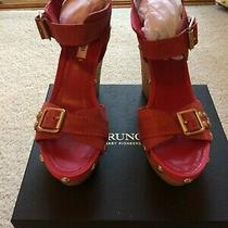 Guess Womens Size 6.5 M  Red Platform Wedge Heels With Gold Accent  Photo
