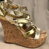 Guess Womens Size 7m Gold Snakeskin Platform Wedge Sandal Cork Heel  Photo