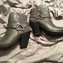 Guess Womens Size 8 Bling Gray Side Zip Up Stud Booties Photo