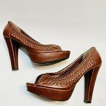 Guess Womens  Size 8 Leather Heels Brown Pumps Photo
